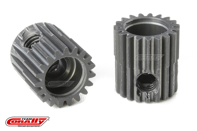 Team Corally - 64 DP Pinion - Short - Hard Anodised AL7075 - 19 Teeth - Shaft Dia. 3.17mm