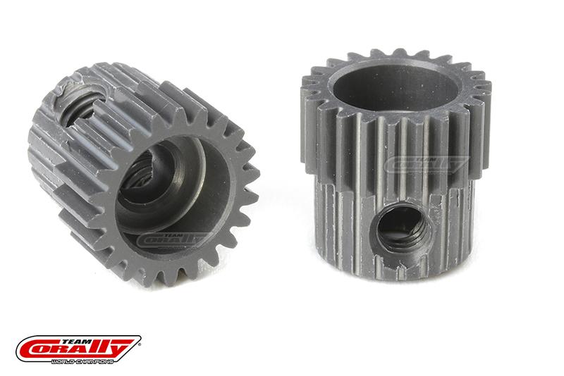 Team Corally - 64 DP Pinion - Short - Hard Anodised AL7075 - 22 Teeth - Shaft Dia. 3.17mm