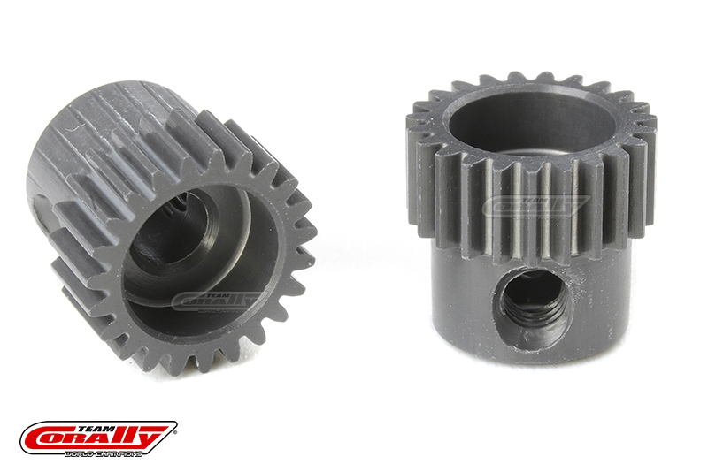 Team Corally - 64 DP Pinion - Short - Hard Anodised AL7075 - 23 Teeth - Shaft Dia. 3.17mm