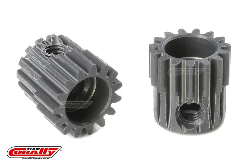 Team Corally - 48 DP Pinion - Short - Hard Anodised AL7075 - 15 Teeth - Shaft Dia. 3.17mm