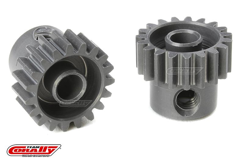 Team Corally - 48 DP Pinion - Short - Hard Anodised AL7075 - 19 Teeth - Shaft Dia. 3.17mm