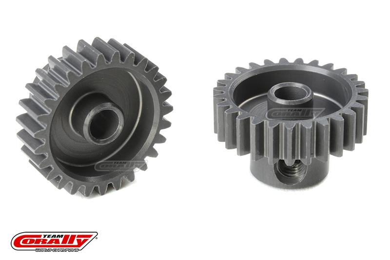Team Corally - 48 DP Pinion - Short - Hard Anodised AL7075 - 27 Teeth - Shaft Dia. 3.17mm