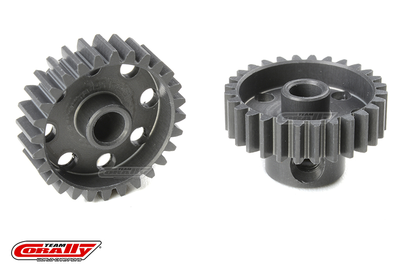 Team Corally - 48 DP Pinion - Short - Hard Anodised AL7075 - 28 Teeth - Shaft Dia. 3.17mm