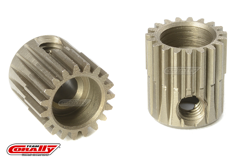Team Corally - 64 DP Pinion - Short - Hardened Steel - 19 Teeth - Shaft Dia. 3.17mm