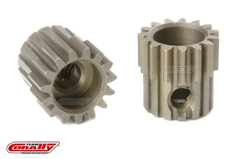 Team Corally - 48 DP Pinion - Short - Hardened Steel - 15 Teeth - Shaft Dia. 3.17mm