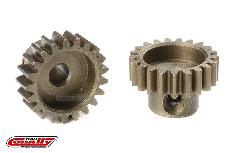 Team Corally - M0.6 Pinion - Short - Hardened Steel - 21 Teeth - Shaft Dia. 3.17mm