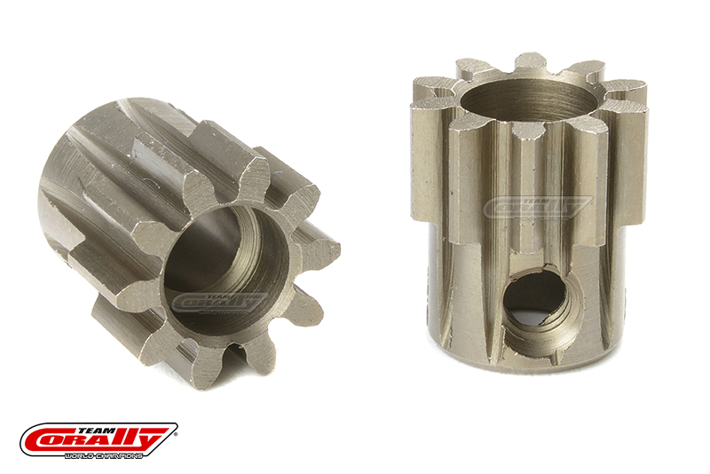 Team Corally - M1.0 Pinion - Short - Hardened Steel - 10 Teeth - Shaft Dia. 5mm