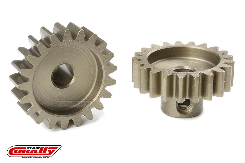 Team Corally - M1.0 Pinion - Short - Hardened Steel - 21 Teeth - Shaft Dia. 5mm