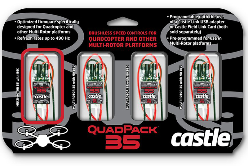Castle - Quadpack 35 - Multi-Rotor Brushless Controller - 2-6S - 35A - 4 pcs Set (1x Sbec - 3x Opto)