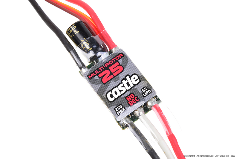 Castle - Multi-Rotor 25 - Multi-Rotor Brushless Controller - 2-6S - 25A - Opto