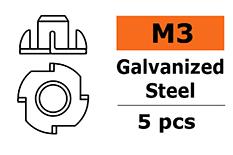 Revtec - Blind nut M3 - Galvanized Steel - 5 pcs