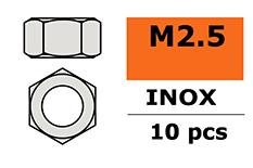 Revtec - Hexagon Nut - M2,5 - Inox - 10 pcs