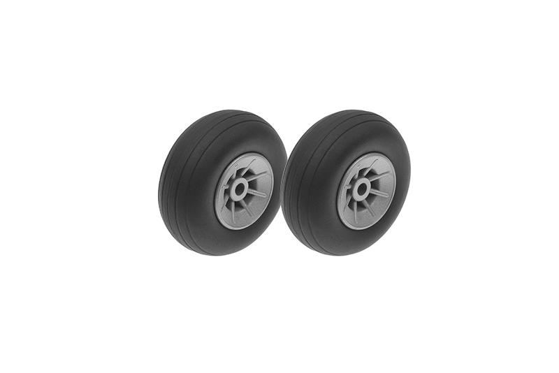 G-Force RC - Airplane Wheels - Rubber w/ Nylon Rim - 38mm - Shaft Dia. 3mm - 2 pcs