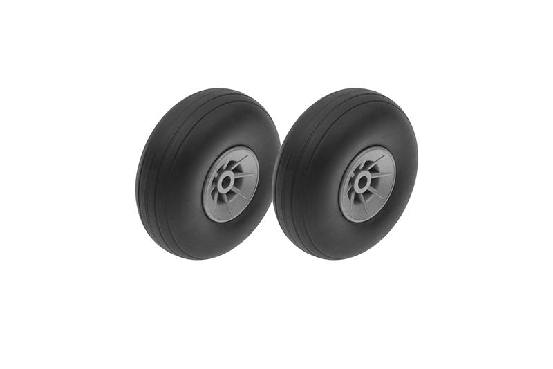 G-Force RC - Airplane Wheels - Rubber w/ Nylon Rim - 44mm - Shaft Dia. 3mm - 2 pcs