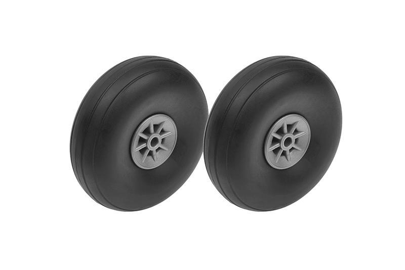 G-Force RC - Airplane Wheels - Rubber w/ Nylon Rim - 57mm - Shaft Dia. 3mm - 2 pcs