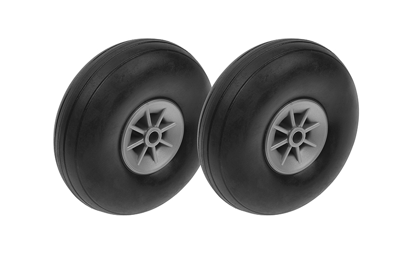 G-Force RC - Airplane Wheels - Rubber w/ Nylon Rim - 63mm - Shaft Dia. 4mm - 2 pcs