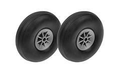 G-Force RC - Airplane Wheels - Rubber w/ Nylon Rim - 63mm - Shaft Dia. 4mm - 2 pcs