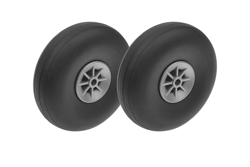G-Force RC - Airplane Wheels - Rubber w/ Nylon Rim - 70mm - Shaft Dia. 4mm - 2 pcs