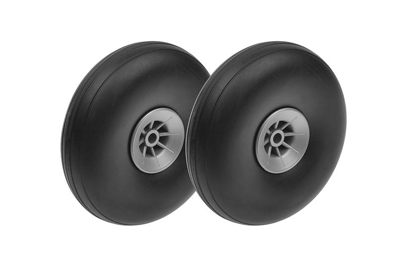 Revtec - Airplane Wheels - Rubber w/ Nylon Rim - 73mm - Shaft Dia. 4mm - 2 pcs