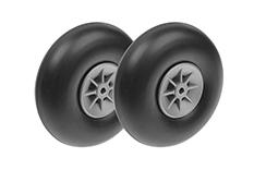 G-Force RC - Airplane Wheels - Rubber w/ Nylon Rim - 90mm - Shaft Dia. 4mm - 2 pcs