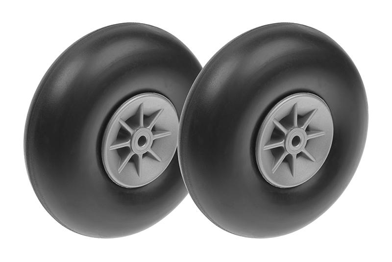 G-Force RC - Airplane Wheels - Rubber w/ Nylon Rim - 100mm - Shaft Dia. 4mm - 2 pcs