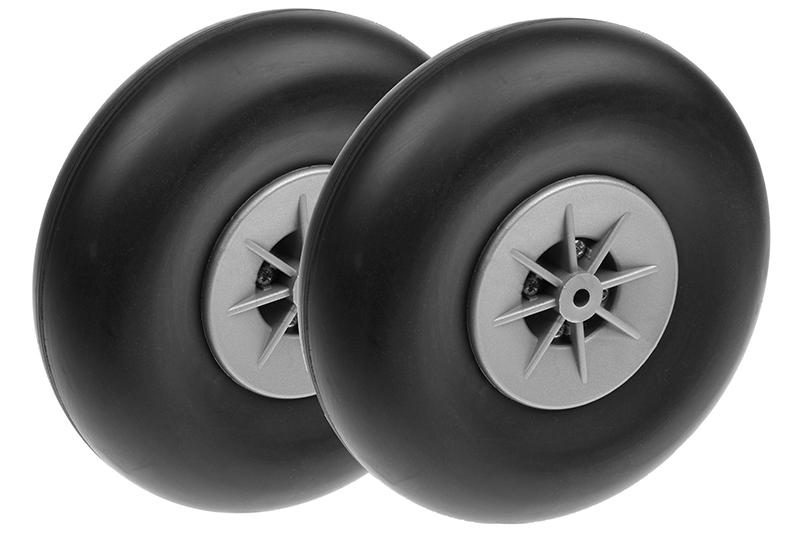 Revtec - Airplane Wheels - Rubber w/ Nylon Rim - 125mm - Shaft Dia. 5mm - 2 pcs
