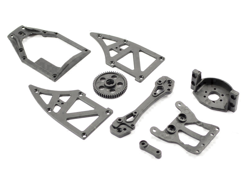 Ishima - Servo Top Plate + Motor Holder +Rear Shock Tower + Side Plates B +Servo Arm + Spur Gear 51T