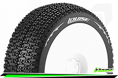 Louise RC - B-MAGLEV - 1-8 Buggy Tire Set - Mounted - Super Soft - White Rims - Hex 17mm - 1 Pair