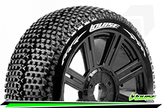 Louise RC - B-TURBO - 1-8 Buggy Tire Set - Mounted - Soft - Black Spoke Rims - Hex 17mm - 1 Pair