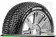 Louise RC - B-TURBO - 1-8 Buggy Tire Set - Mounted - Super Soft - Black-Chrome Spoke Rims - Hex 17mm - 1 Pair
