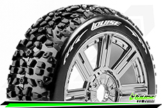 Louise RC - B-MAZINGER - 1-8 Buggy Tire Set - Mounted - Soft - Black-Chrome Spoke Rims - Hex 17mm - 1 Pair