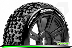 Louise RC - B-MAZINGER - 1-8 Buggy Tire Set - Mounted - Soft - Black Spoke Rims - Hex 17mm - 1 Pair