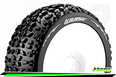 Louise RC - B-MAZINGER - 1-8 Buggy Tire Set - Mounted - Soft - White Rims - Hex 17mm - 1 Pair