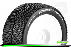 Louise RC - T-TURBO - 1-8 Truggy Tire Set - Mounted - Soft - White Rims - 0-Offset - Hex 17mm - 1 Pair