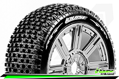 Louise RC - B-PIRATE - 1-8 Buggy Tire Set - Mounted - Soft - Black-Chrome Spoke Rims - Hex 17mm - 1 Pair