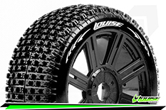 Louise RC - B-PIRATE - 1-8 Buggy Tire Set - Mounted - Soft - Black Spoke Rims - Hex 17mm - 1 Pair