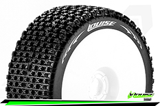 Louise RC - B-PIRATE - 1-8 Buggy Tire Set - Mounted - Soft - White Rims - Hex 17mm - 1 Pair