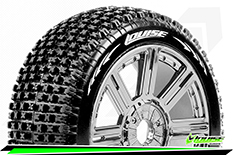 Louise RC - B-PIRATE - 1-8 Buggy Tire Set - Mounted - Super Soft - Black-Chrome Spoke Rims - Hex 17mm - 1 Pair