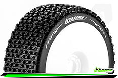 Louise RC - B-PIRATE - 1-8 Buggy Tire Set - Mounted - Super Soft - White Rims - Hex 17mm - 1 Pair