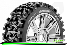 Louise RC - B-PIONEER - 1-8 Buggy Tire Set - Mounted - Soft - Black-Chrome Spoke Rims - Hex 17mm - 1 Pair
