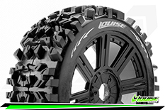 Louise RC - B-PIONEER - 1-8 Buggy Tire Set - Mounted - Soft - Black Spoke Rims - Hex 17mm - 1 Pair