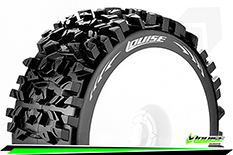 Louise RC - B-PIONEER - 1-8 Buggy Tire Set - Mounted - Soft - White Rims - Hex 17mm - 1 Pair