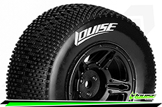 Louise RC - SC-GROOVE - 1-10 Short Course Tire Set - Mounted - Soft - Black Wheels - Losi TEN-SCTE 4X4 - L-T3146SBLA