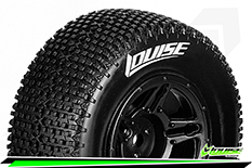 Louise RC - SC-TURBO - 1-10 Short Course Tire Set - Mounted - Soft - Black Wheels - Hex 12mm - SLASH 2WD - Front - L-T3147SBTF