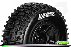 Louise RC - SC-PIONEER - 1-10 Short Course Tire Set - Mounted - Soft - Black Rims - ASSOCIATED SC10 4X4 - Front - Rear - 1 Pair