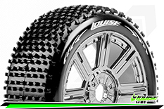 Louise RC - B-HORNET - 1-8 Buggy Tire Set - Mounted - Soft - Black-Chrome Spoke Rims - Hex 17mm - 1 Pair
