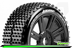 Louise RC - B-HORNET - 1-8 Buggy Tire Set - Mounted - Soft - Black Spoke Rims - Hex 17mm - 1 Pair