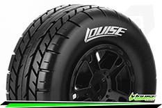 Louise RC - SC-ROCKET - 1-10 Short Course Tire Set - Mounted - Soft - Black Rims - ASSOCIATED SC10 - Rear - 1 Pair