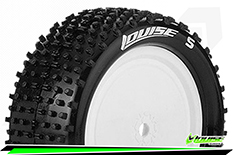 Louise RC - E-HORNET - 1-10 Buggy Tire Set - Mounted - Soft - White Rims - Kyosho - Hex 12mm - 4WD - Front - 1 Pair
