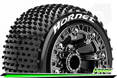 "Louise RC - ST-HORNET - 1-16 Truck Tire Set - Mounted - Soft - Black Chrome 2.2"" Rims - REVO - SUMMIT - Savage XS Flux - Front - Rear - 1 Pair"